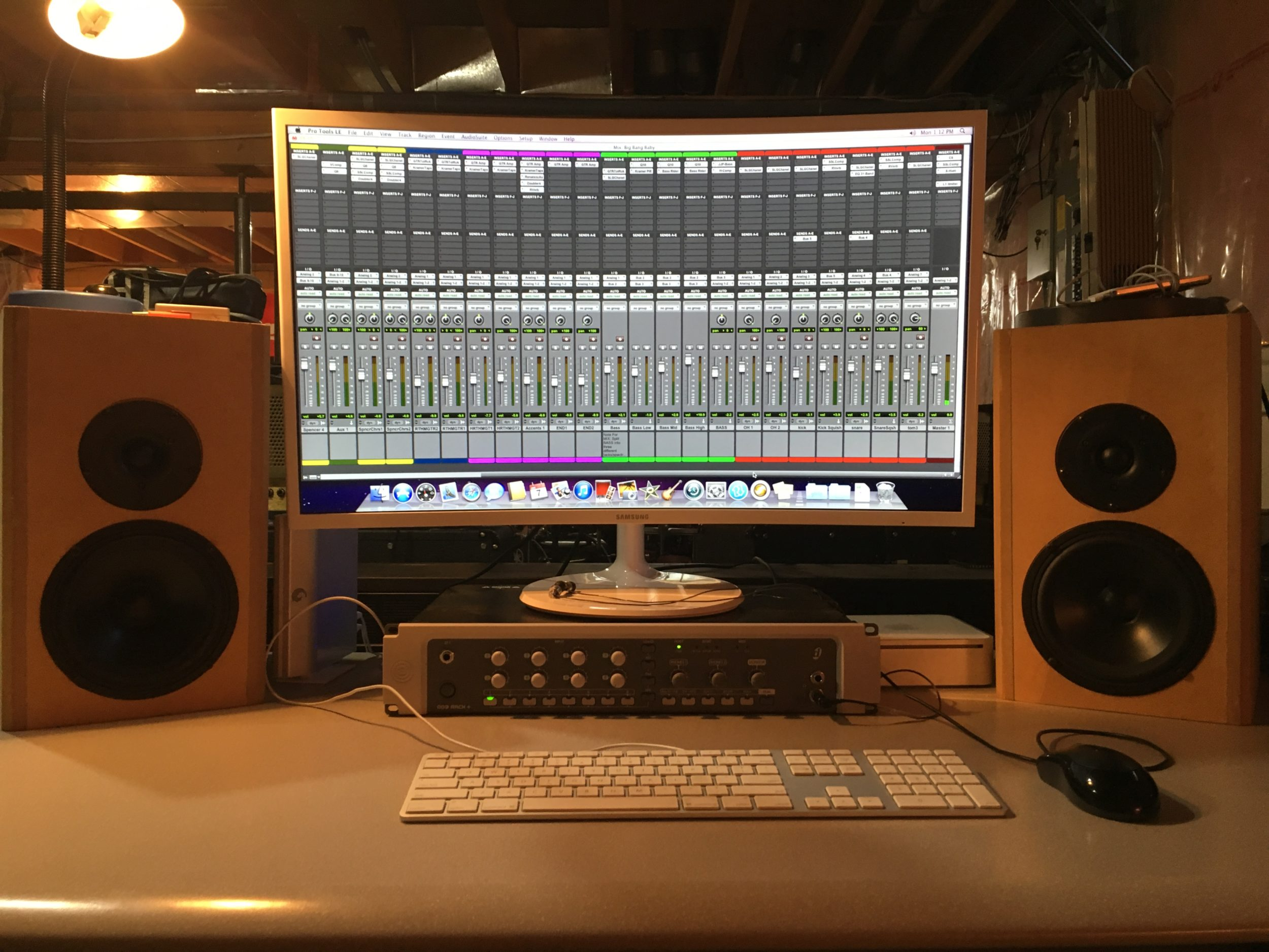 pro tools mix window on computer in Spencer's Calgary recording studio