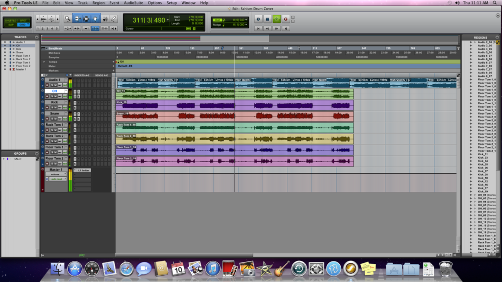 Screen shot of pro tools le 8 - schism drum cover session