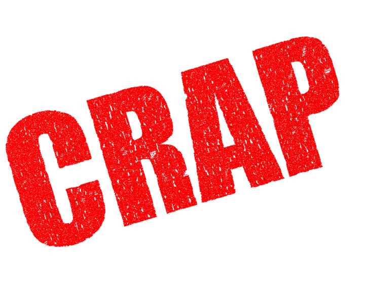 the word crap spelled out in red capital letters