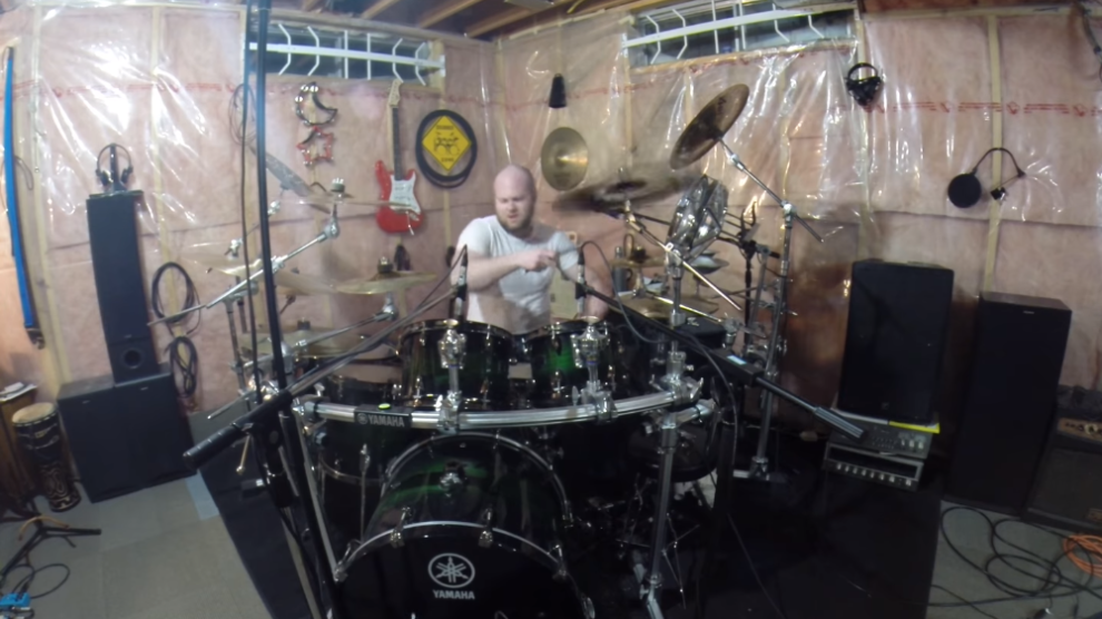 screenshot of spencer mcleod playing she by green day on the drums