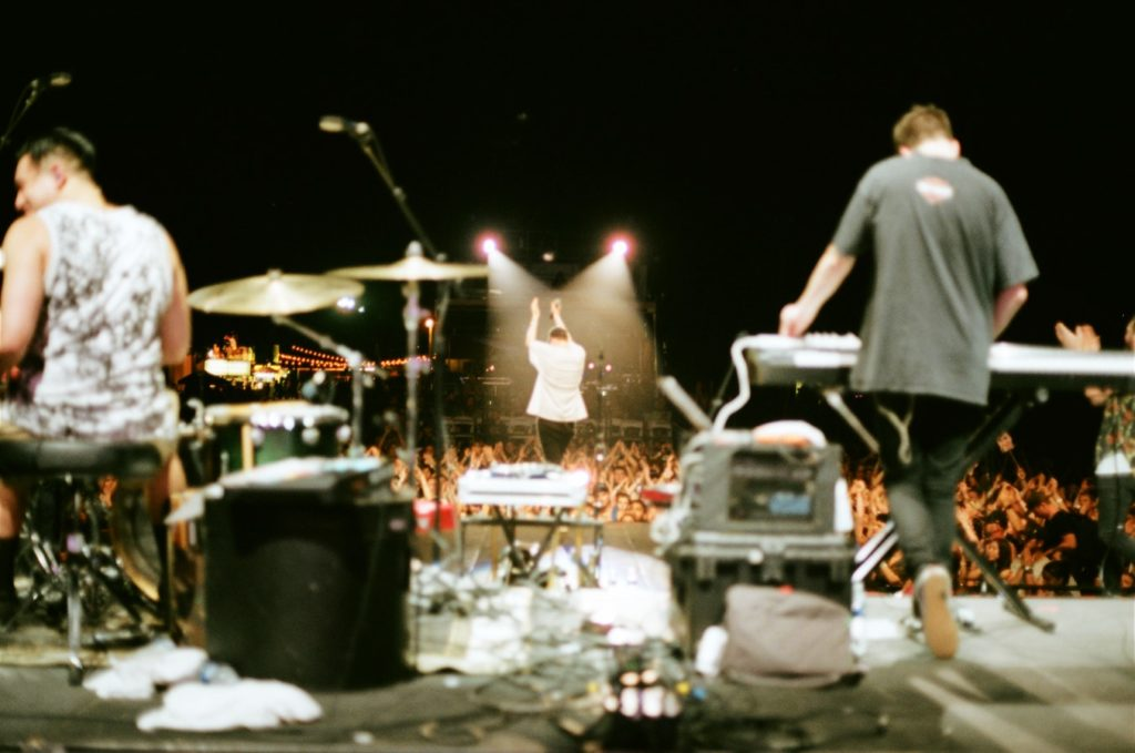 a band on stage playing a show