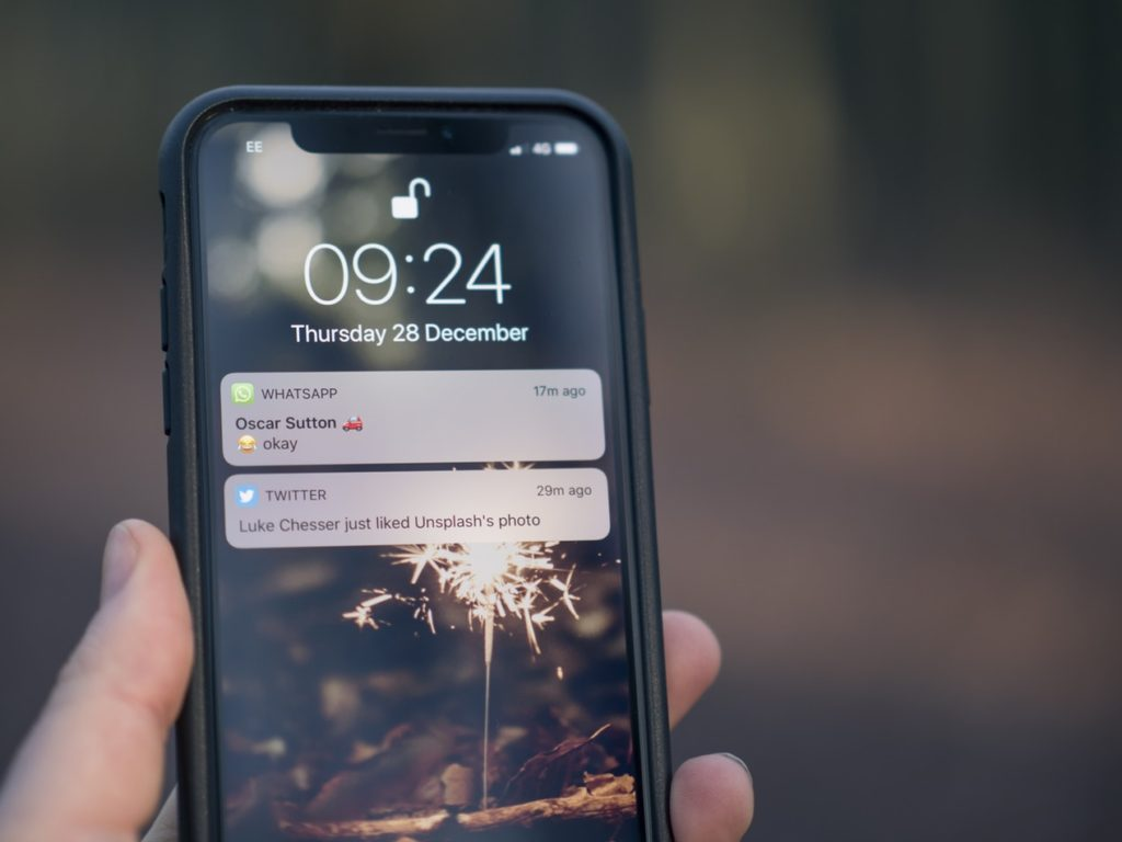 smartphone with message notifications
