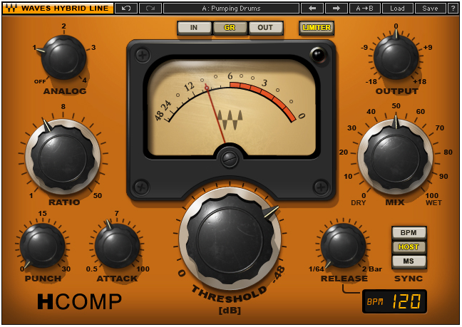 The H-Comp hybrid compressor by Waves plugins