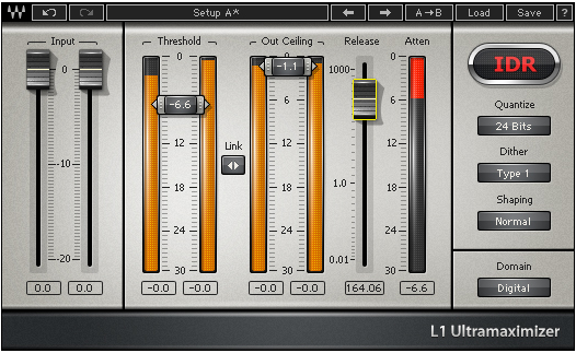 Screenshot of L1 ultramaximizer limiter