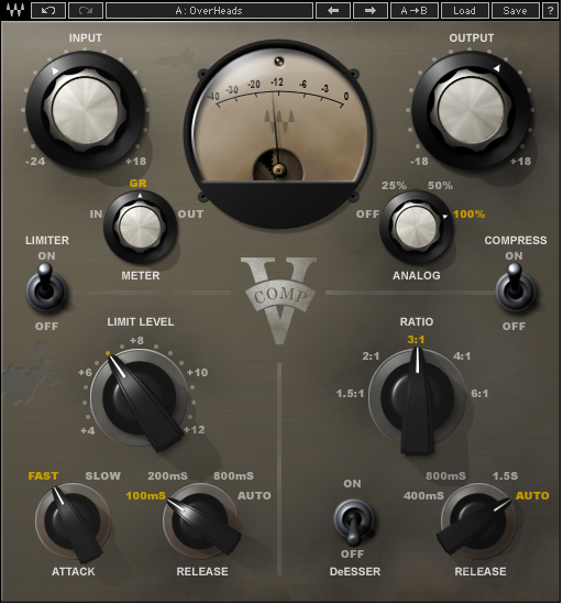 Screenshot of V-comp compressor